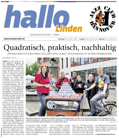 Artikel aus dem Wochenblatt, Gert Schmidt und Caritas Buchbinde-Werkstatt am Lindener Markt bei der Übergabe der Zettelbox